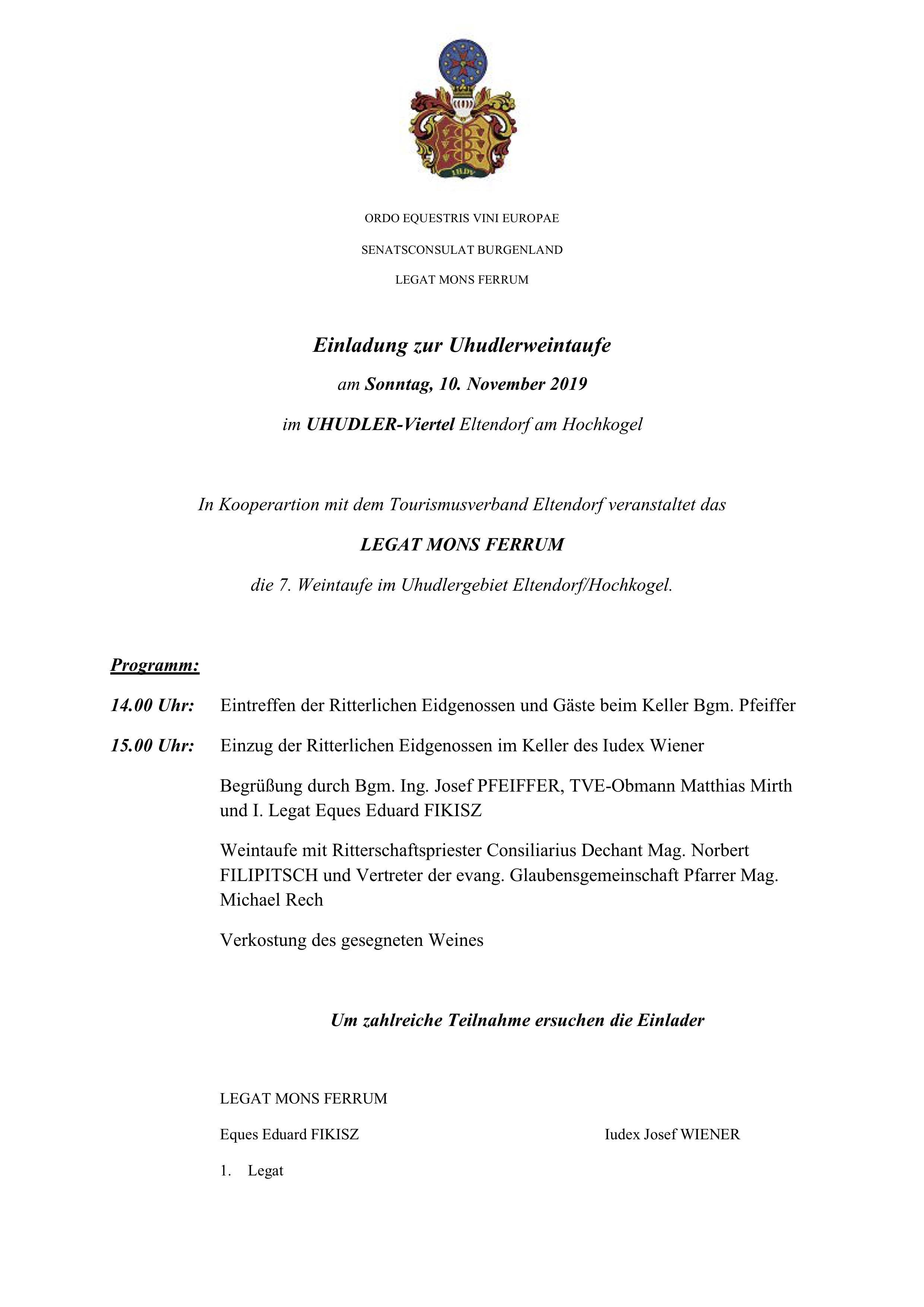WEINRITTER-Uhudlerweintaufe Eltendorf 10.11.2019-Einladung